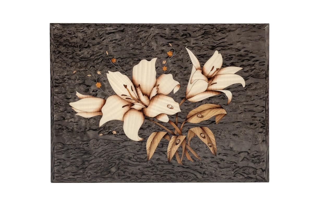 Шкатулка из карельской березы Цветы рисунок