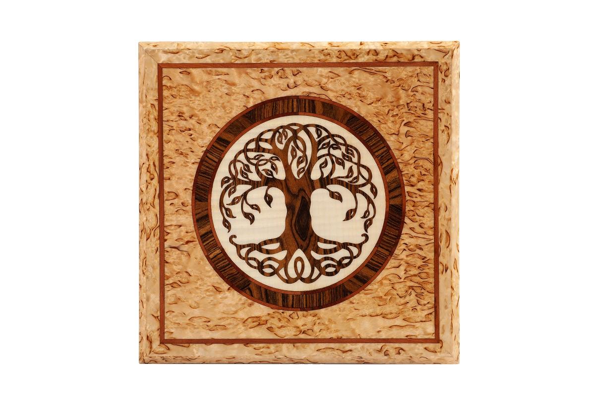 Шкатулка из карельской березы древо рисунок