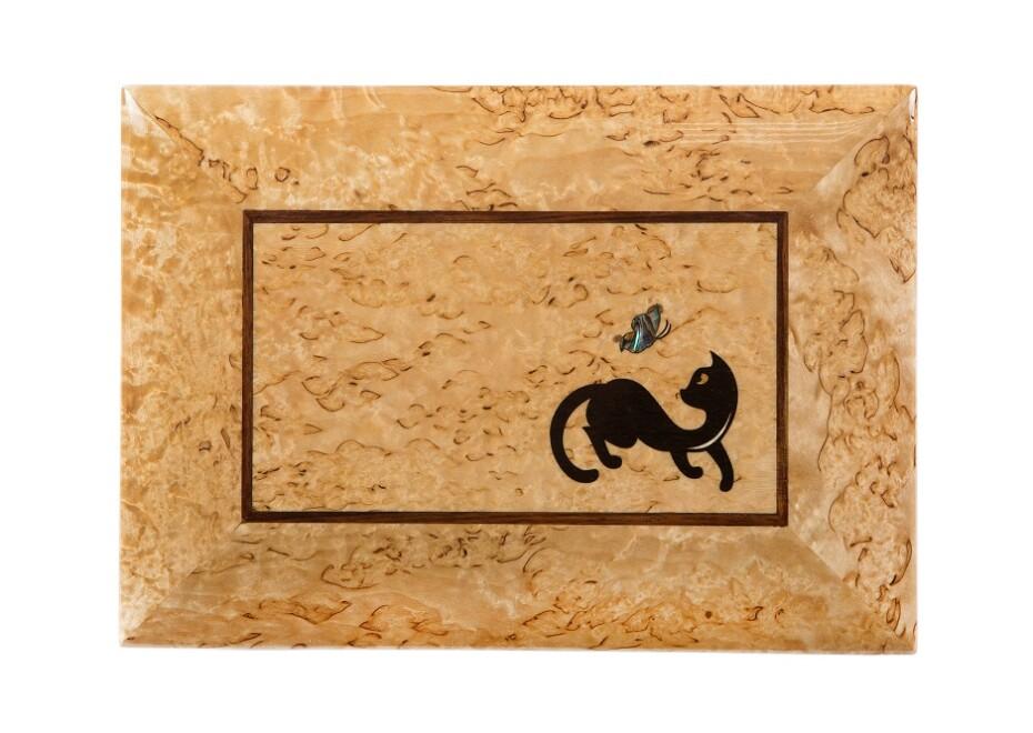Шкатулка из карельской березы Котенок с бабочкой рисунок