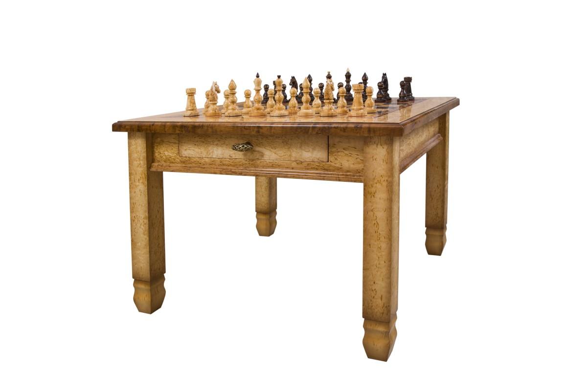 Шахматный стол из карельской березы Гроссмейстер